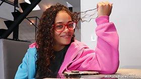 Hot nerdy ebony chick Scarlit Scanda and her kinky interview