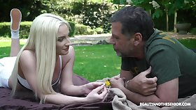 Acquaintance with young blondie Angela Vidal ends with hot making love everywhere the park