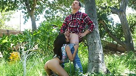 Outdoor fun roughly the forest of a young cock sucking princess