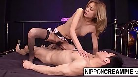 Japanese blonde keeps her stockings on for making out