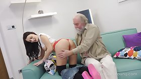 Old dude enjoys licking and screwing yummy hole of whorish student Katy Rose