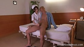 Slender Japanese nurse rides a boastfully boner cowgirl pose after giving a blowjob